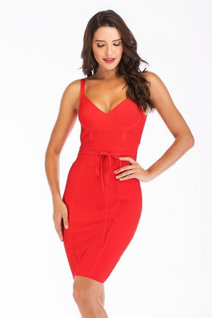 Spaghetti Strap Open Back Belted Mini Dress