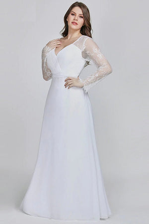 Chic Lace A-line Chiffon Long Party Gown Evening Dress