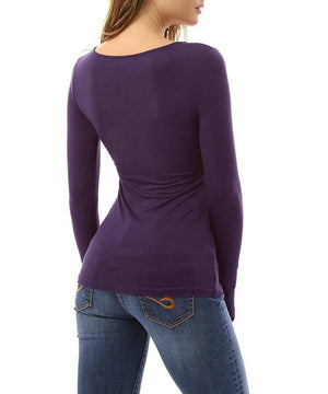 Lace Up Long Sleeve Sexy V Neck Slim Shirt Top Verkadi.com