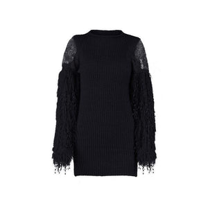 Sexy Mesh Knitted Bodycon Tassel Event Party Dress Verkadi.com