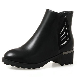 Hip Pu Leather Chunky Square Heel Round Toe Ankle Boots Verkadi.com