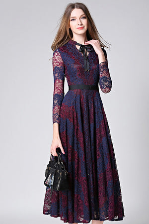 intage Lace Flower Print A-Line Mid-Calf Dress