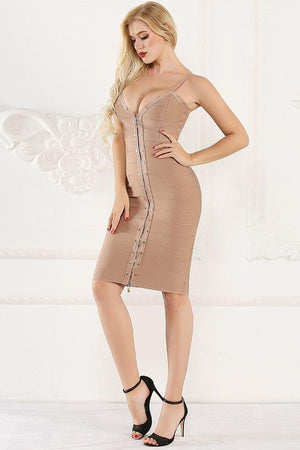 Bandage Spaghetti Strap Zipper V Neck Bodycon Dress