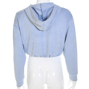 Sexy Hooded Crop Top Street Wear Hoodie Sweatshirt Verkadi.com