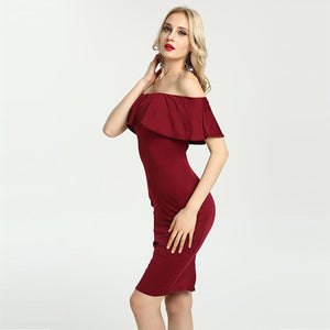 Hot Off Shoulder Ruffle Bodycon Slim Dress Verkadi.com