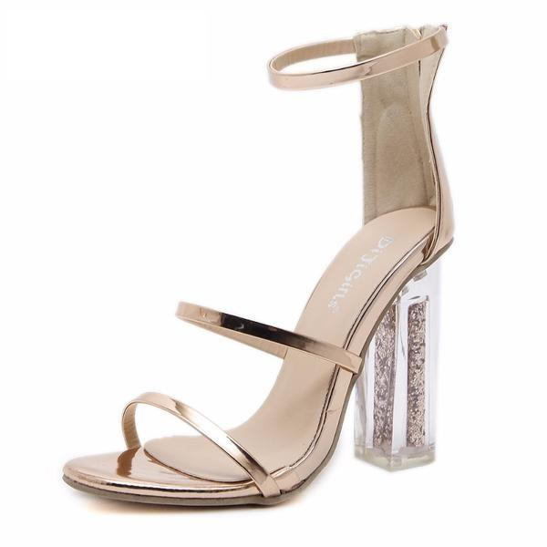 Trendy High Heel Gladiator Crystal Transparent Square Heel Stilettos