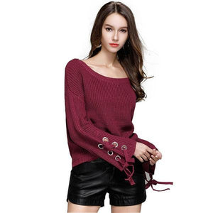 Elegant Sweater Casual Long Flare Sleeve O-neck Pullover Top Verkadi.com