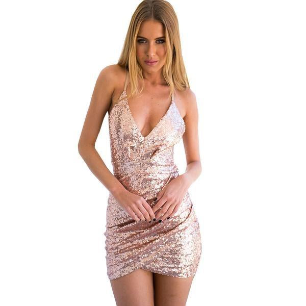 Sexy Glitter Sequin Bodycon Bandage Club Party Dress Verkadi.com