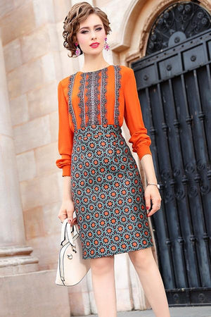 Beading O-Neck Patchwork Vintage Midi Dress