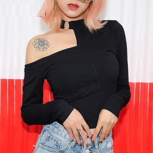 Sensual Look Long Sleeve Crop Top One Shoulder Top Sweatshirt Verkadi.com