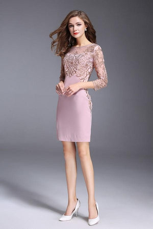 Retro Lace Embroidery Slim Mini Dress