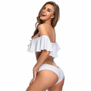 Sexy Padded Ruffled Swimsuit Swimwear Bikini Set