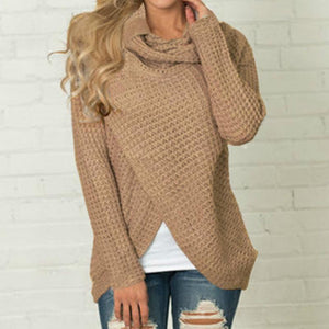 New Knitted Long Sleeve Scarf Neck Pullover Sweater