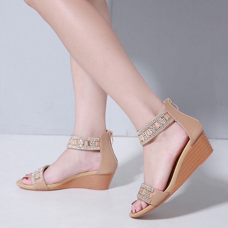 Cool Rhinestone Middle Wedge Heel Woman Bohemian Sandals