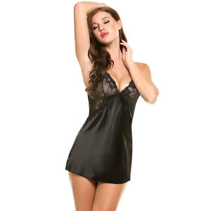 Sexy Sheer Scalloped Satin Silk Slip Nightwear With G String Lingerie Verkadi.com