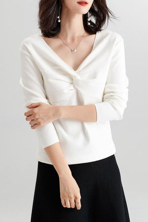 V Neck Wool Knitted Twisted Sweater Pullover Top