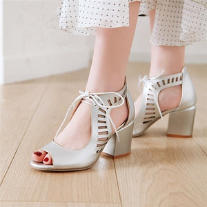 Hollow Lace Up Covered Block Heel Peep Toe Sandals