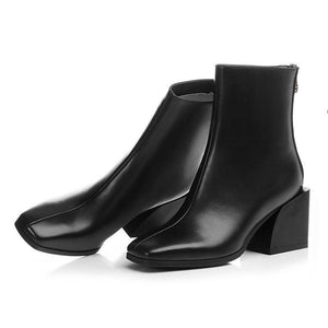 Euro Style Leather Square Toe High Heel Ankle Boots