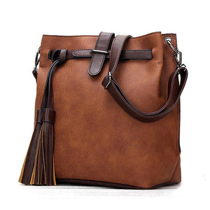 Hip Tassel Retro Vintage Bucket Cross Body Shoulder Bag