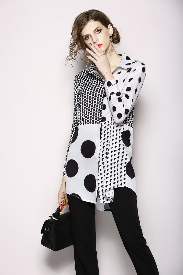 Vintage Casual Long Sleeve Women Shirt Blouse Top