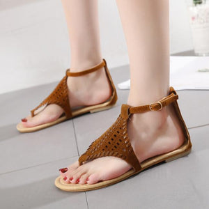 Comfortable Hollowing Thong Flat Sandals