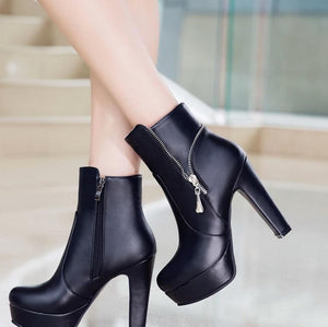 Fashion Platform Square High Heels Ankle Boots Verkadi.com
