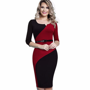 Belted Color Block Fitted Bodycon Business Dress Verkadi.com