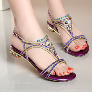 Cool Ankle Strap Glitter Open Toe Rhinestone Summer Sandals