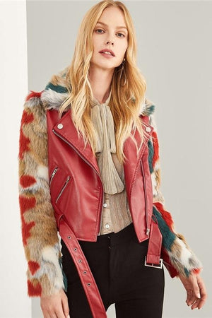soft faux fur pu leather  jackets for women by verkadi