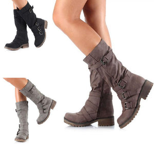 New Suede Leather Wedge Mid Calf Round Toe Long Boots Verkadi.com