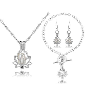 Elegant Lotus Pearl Cage Locket Set Verkadi.com