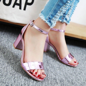 Elegant Square High Heel Ankle Wrap Sandals