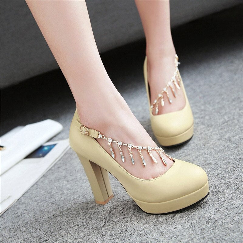 Mary Jane Style Chains Spike High Heels Platform Pumps