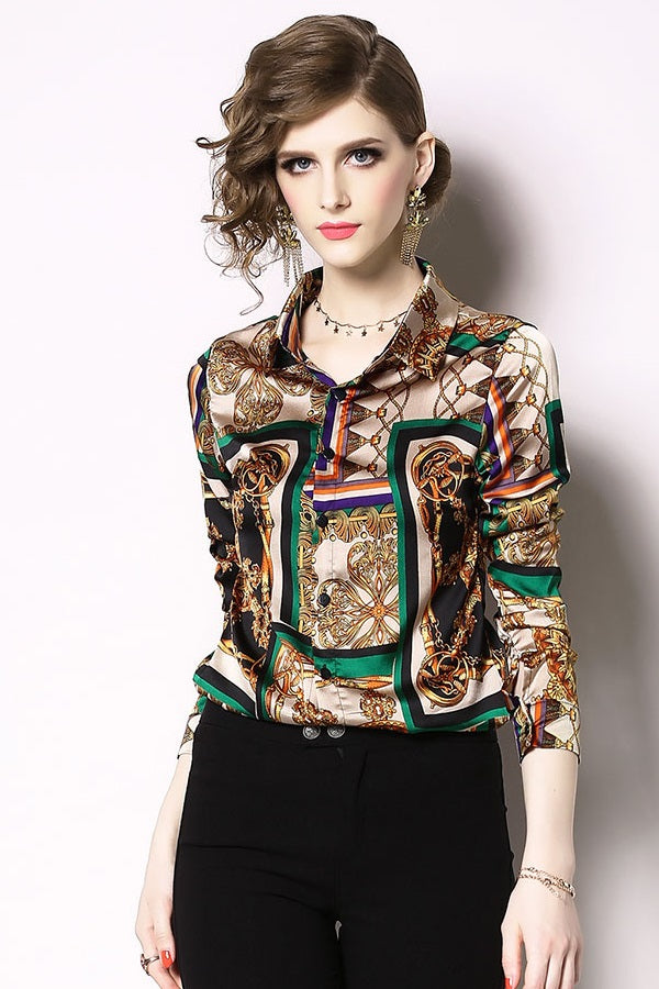 Vintage Turn-down Collar Printed Women's Shirt Blouse Top