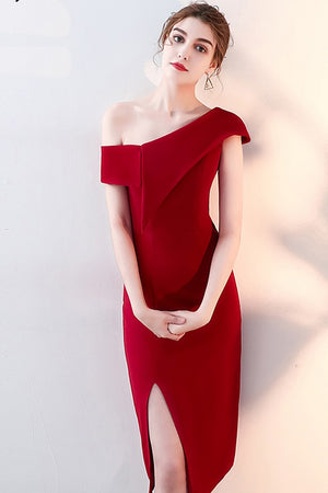 Sleeveless One-Shoulder Formal Evening Dress
