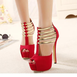Sexy High Heels Metal Sequined Hollow Stilettos Verkadi.com
