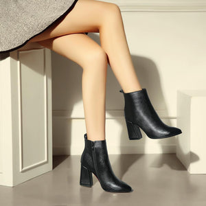 Pointed Toe Genuine Leather Square High Heel Ankle Boots