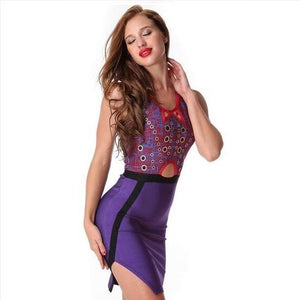 Hollow Out Sleeveless Bodycon Purple Evening Party Dress Verkadi.com