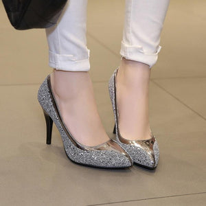 Glitter Bling Spike Heel Pointed Toe Pumps Sandals Shoes Verkadi.com