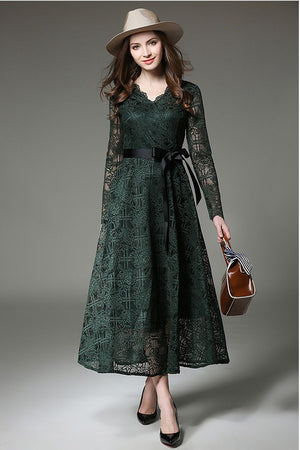 Lace A-Line V-Neck Long Sleeves Long Dress