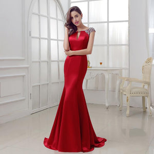 Burgundy Mermaid Long Satin Crystal Beads Dress Verkadi.com