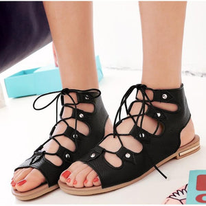 Hot Cross Tied Ankle Wrap Casual Summer Flat Sandals Verkadi.com