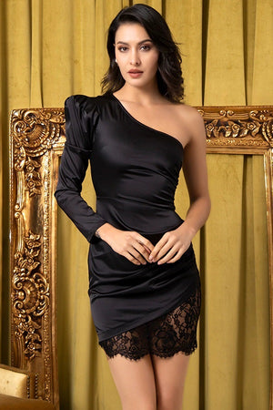 Black Single Puff Sleeve Lace Elastic Slim Party Mini Dress
