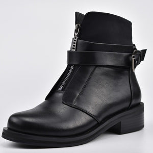 Stylish Buckle Strap Chunky Heel Front Zipper Women Ankle Boots