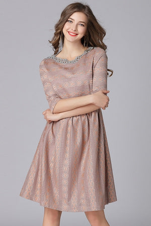 A-line Lace Half Sleeves Pleated Plus Size Midi Dress