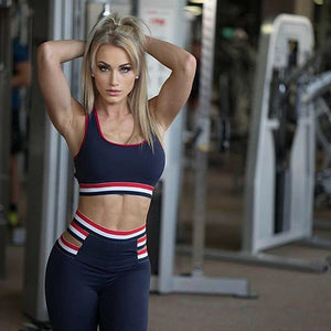 Striped Tank Top Leggings Gym Wear Fitness Sportswear Yoga Set