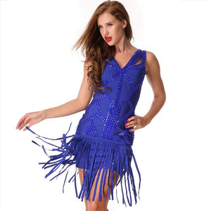 Hot Sleeveless Crystal Tassel Bodycon Evening Club Party Dress