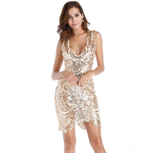Sequins Sleeveless Bodycon Asymmetrical Hem Party Dress Verkadi.com