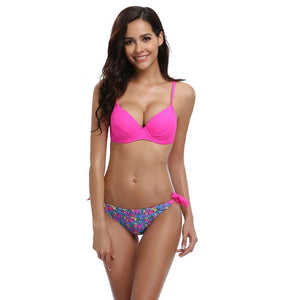 Sexy Print Low Waist Push up Swimwear Bikini  Set