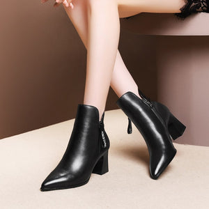Sexy French Style Leather Pointed Toe High Heels Ankle Boots Verkadi.com